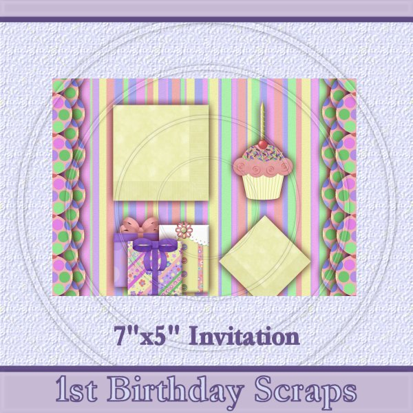 1st Birthday Scraps Invite - Click Image to Close
